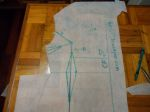 Trim away the extra polytrace from around the side seam and armhole.  Make a mark on line B where it crosses the armhole seamline.