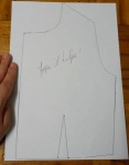 Using a fresh piece of paper, trace the outline of the altered bodice and draw the vertical dart in the same place as before..