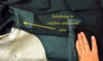 Interfacing to reinforce the underarm section