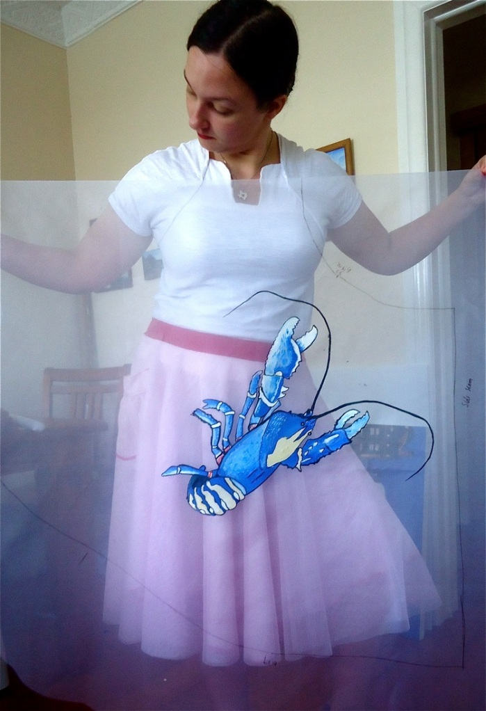 Blue Lobster Dress | Half Circle Skirt | 3 Hours Past