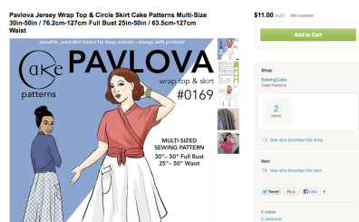 Etsy Screen Shot | Pavlova Wrap Top and Skirt
