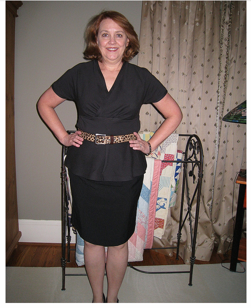 Ellen made her Tiramisu into a peplum top, paired with a black skirt.