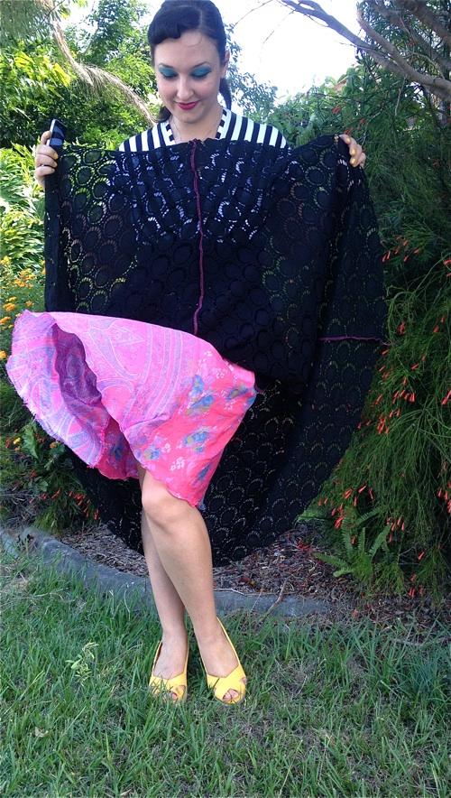 Recycled Silk Lining   Stripey Lacy Tiramisu   3 Hours Past
