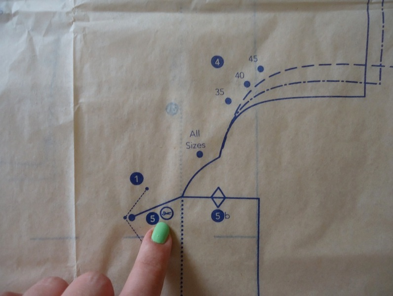 dots, notches, symbols and most seamlines labeled with the corresponding step from the instructions.