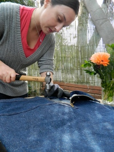 Sewing with Hammers on the back patio