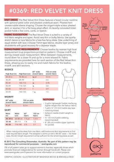 0369 Red Velvet Dress Cake Patterns
