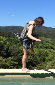 I was leaping around to get away from a stinging fly, and husband caught this photo, shows the motion well... and heheh!
