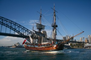 replica HMS Endeavour in Sydney, click for source